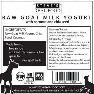 Steve's Real Food Goat's Milk Yogurt for Dogs and cats