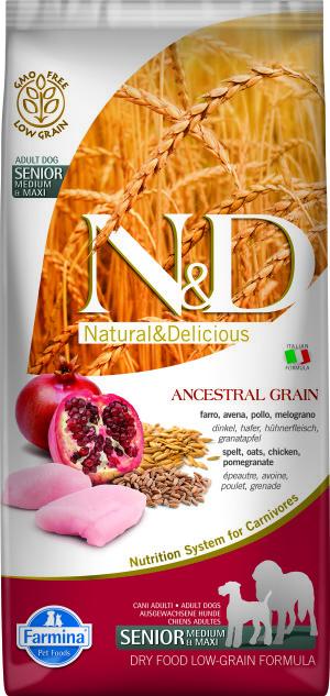 ND Low Ancestral Grain 12kg Senior Medium-Maxi CHICKEN [3D_Front]@print